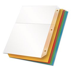 Poly Ring Binder Pockets, 8-1/2 x 11, Assorted Colors, 5 Pockets/Pack