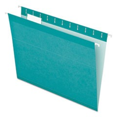 Colored Reinforced Hanging Folders, Letter Size, 1/5-Cut Tab, Aqua, 25/Box