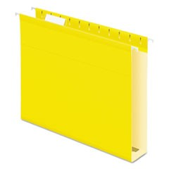 Extra Capacity Reinforced Hanging File Folders with Box Bottom, Letter Size, 1/5-Cut Tab, Yellow, 25/Box