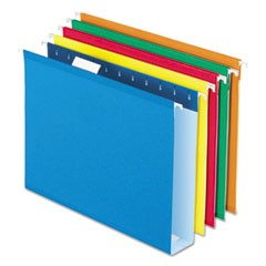 "Hanging File Folders w/Box Bottom, 2"" Capacity, 1/5 Cut, Letter, Assorted, 25/BX"