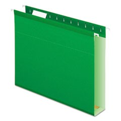 Extra Capacity Reinforced Hanging File Folders with Box Bottom, Letter Size, 1/5-Cut Tab, Bright Green, 25/Box