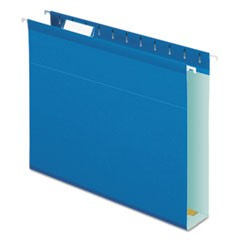 Extra Capacity Reinforced Hanging File Folders with Box Bottom, Letter Size, 1/5-Cut Tab, Blue, 25/Box