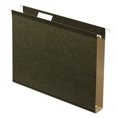 Extra Capacity Reinforced Hanging File Folders with Box Bottom, Letter Size, 1/5-Cut Tab, Standard Green, 25/Box