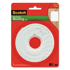 "Permanent High-Density Foam Mounting Tape, 1"" Wide x 125"" Long"