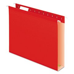 Extra Capacity Reinforced Hanging File Folders with Box Bottom, Letter Size, 1/5-Cut Tab, Red, 25/Box