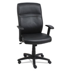 High-Back Swivel/Tilt Bonded Leather Chair, Supports up to 275 lbs, Black Seat/Black Back, Black Base