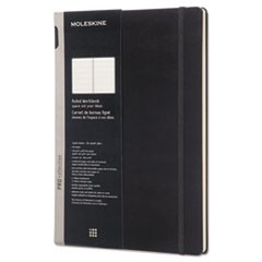 Professional Hard Cover Notebook, Medium/College Rule, Black Cover, 11 x 8.5, 176 Sheets