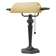 "Traditional Banker's Lamp, 16"" High, Amber Shade with Antique Bronze Base"