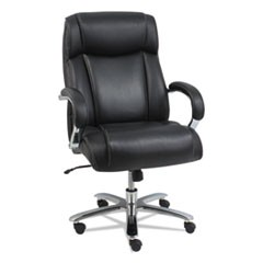 Alera Maxxis Series Big and Tall Leather Chair, Supports up to 500 lbs., Black Seat/Black Back, Chrome Base