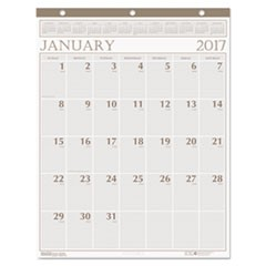 Recycled Large Print Monthly Wall Calendar, Leatherette Binding, 20 x 26, 2017