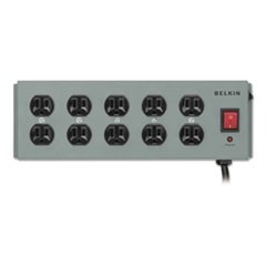 Metal SurgeMaster Surge Protector, 10 Outlets, 15 ft Cord, 885 Joules, Dark Gray