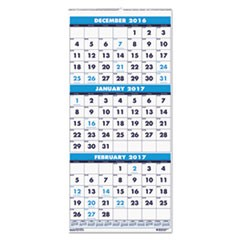 Recycled Three-Month Format Wall Calendar, 12 1/4 x 26, 14-Month, 2016-2018