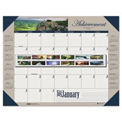 Recycled Motivational Photographic Monthly Desk Pad Calendar, 22 x 17, 2017