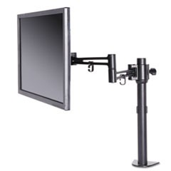 "AdaptivErgo Pole-Mounted Single Arm, For 30"" Monitors, 360 deg Rotation, 30 deg Tilt, 360 deg Pan, Black, Supports 22 lb"