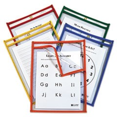 1Reusable Dry Erase Pockets, Easy Load, 9 x 12, Assorted Primary Colors, 25/Pack
