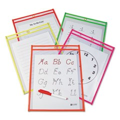 Reusable Dry Erase Pockets, 9 x 12, Assorted Neon Colors, 10/Pack