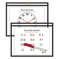 Reusable Dry Erase Pockets, 12 x 9, Black