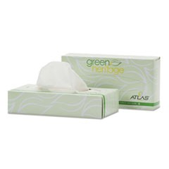 Green Heritage Professional Facial Tissue, 2-Ply,7 2/5 x 8 1/5, 100/Box,30 Bx/CT
