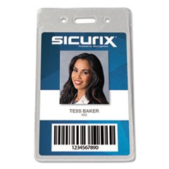 Sicurix Proximity Badge Holder, Vertical, 2 1/2w x 4 1/2h, Clear, 50/Pack