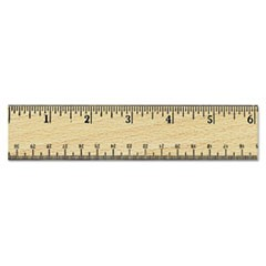 "1Flat Wood Ruler w/Double Metal Edge, 12"", Clear Lacquer Finish"
