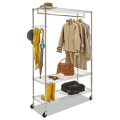 Wire Shelving Garment Rack, 40 Garments, 48w x 18d x 75h, Silver