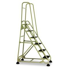 Six-Step Stop-Step Folding Aluminum Double Handrail Ladder, Beige