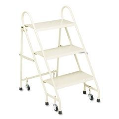 Steel Folding 3-Step Ladder w/Retracting Casters, Beige