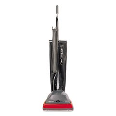 TRADITION Upright Vacuum with Shake-Out Bag, 12 lb, Gray/Red
