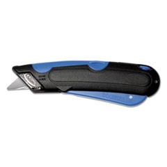 Easycut Self-Retracting Cutter with Safety-Tip Blade and Holster, Black/Blue