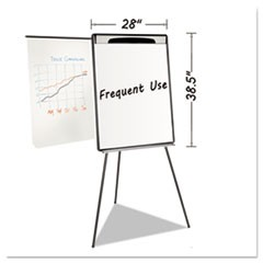 "Magnetic Gold Ultra Dry Erase Tripod Easel W/ Ext Arms, 32"" to 72"", Black/Silver"