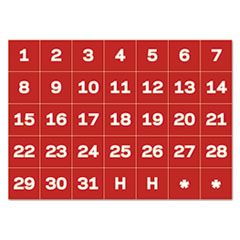 "1Interchangeable Magnetic Board Accessories, Calendar Dates, Red/White, 1"" x 1"""
