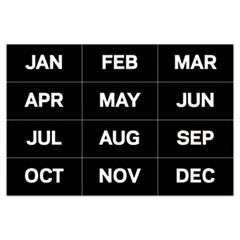 "1Interchangeable Magnetic Board Accessories, Months of Year, Black/White, 2"" x 1"""