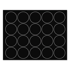 "Interchangeable Magnetic Board Accessories, Circles, Black, 3/4"", 20/Pack"