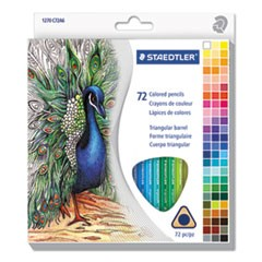 Triangular Colored Pencil Set, H/#3, 2.9mm, 72 Assorted Colors