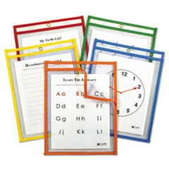 1Reusable Dry Erase Pockets, 9 x 12, Assorted Primary Colors, 5/Pack