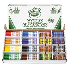 My First Crayons and Markers Combo Classpack, Eight Colors, 128/Set