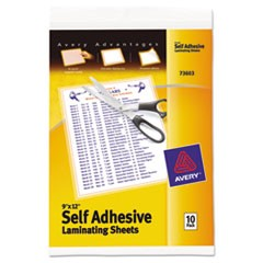 "1Clear Self-Adhesive Laminating Sheets, 3 mil, 9"" x 12"", Matte Clear, 10/Pack"
