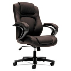 HVL402 Series Executive High-Back Chair, Supports up to 250 lbs., Brown Seat/Brown Back, Black Base