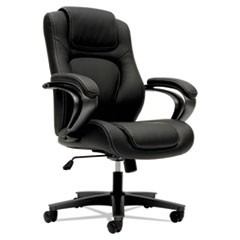 HVL402 Series Executive High-Back Chair, Supports up to 250 lbs., Black Seat/Black Back, Iron Gray Base