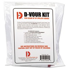 D'vour Clean-up Kit, Powder, All Inclusive Kit, 6/Carton