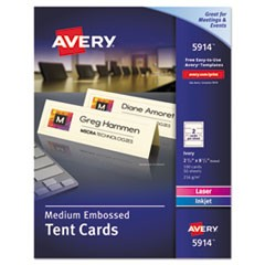Medium Embossed Tent Cards, Ivory, 2 1/2 x 8.5, 2 Cards/Sheet, 100/Box