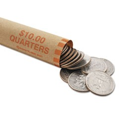 Nested Preformed Coin Wrappers, Quarters, $10.00, Orange, 1000 Wrappers/Box