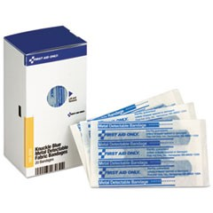 SmartCompliance Blue Metal Detectable Bandages, Knuckle, 1 x 3, 20/Box