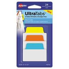 "Ultra Tabs Repositionable Standard Tabs, 1/5-Cut Tabs, Assorted Primary Colors, 2"" Wide, 24/Pack"