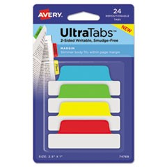Ultra Tabs Repositionable Tabs, 2.5 x 1, Primary:Green, Red, Yellow, Blue, 24/PK