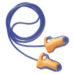 LT-30 Laser Trak Single-Use Earplugs, Corded, 32NRR, Orange/Blue, 100 Pairs