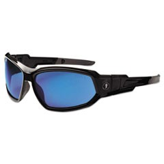 Skullerz Loki Safety Glass/Goggle, Black Frame/Blue Mirror Lens,Nylon/Polycarb