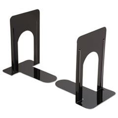 Economy Bookends, Nonskid, 5 7/8 x 8 1/4 x 9, Heavy Gauge Steel, Black