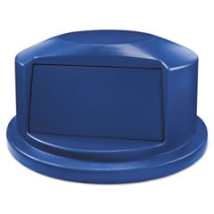 "Round Brute Dome Top Lid for 44gal Waste Containers, 24.81"" Dia, Blue"