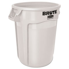 Vented Round Brute Container, 55 gal, White, Resin